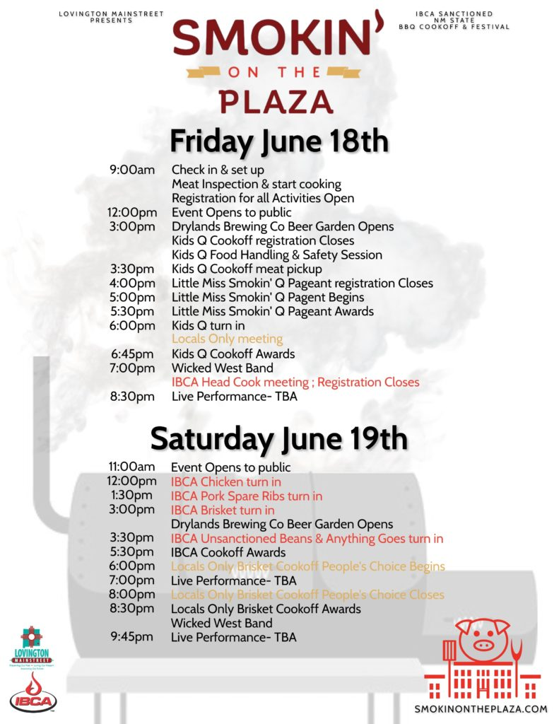 2021 Smokin' on the Plaza Event Schedule Flyer